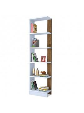 Βιβλιοθήκη Pupis pakoworld λευκό-καρυδί 45x22x170 055-000055