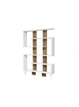 Βιβλιοθήκη Jane pakoworld σε χρώμα λευκό-καρυδί 120x22x164 055-000131