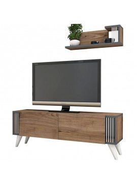 Έπιπλο τηλεόρασης Negro pakoworld σε χρώμα καρυδί 120x29x41εκ 055-000198