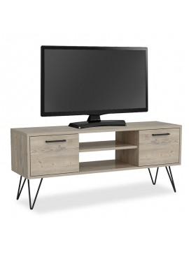 Έπιπλο τηλεόρασης Almira tv pakoworld χρώμα φυσικό-ανθρακί 120x35x50εκ 055-000317