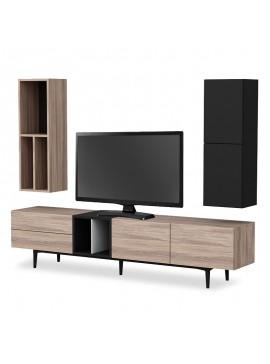 Σύνθετο σαλονιού Diany tv pakoworld χρώμα καρυδί-μαύρο 195x37x45εκ 055-000330