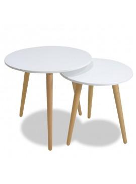 Βοηθητικά τραπέζια σαλονιού SMITH pakoworld σετ 2τμχ χρώμα λευκό ματ-φυσικό 058-000001
