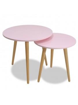 Βοηθητικά τραπέζια σαλονιού SMITH pakoworld σετ 2τμχ χρώμα ροζ ματ-φυσικό 058-000003