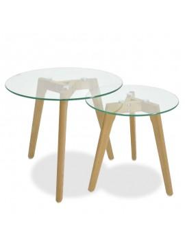 Βοηθητικά τραπέζια σαλονιού SMITH pakoworld γυάλινα σετ 2τμχ 058-000004