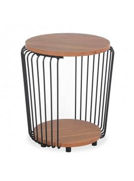 Βοηθητικό τραπέζι σαλονιού Leif pakoworld χρώμα φυσικό-μαύρο Φ40x46,5εκ 058-000027