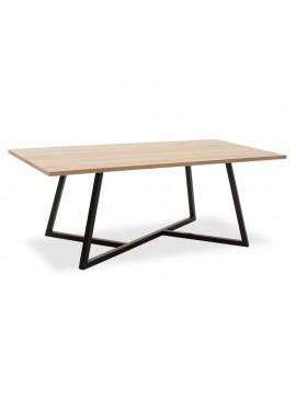 Τραπέζι σαλονιού Ivan pakoworld MDF μεταλλικό sonoma-μαύρο 120x60x45εκ 058-000032