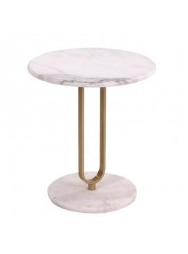 Βοηθητικό τραπέζι Trevor pakoworld μάρμαρο λευκό-χρυσό Φ50x54,5εκ 058-000038