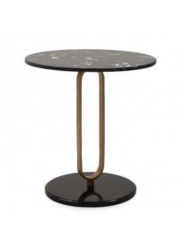Βοηθητικό τραπέζι Trevor pakoworld μάρμαρο μαύρο-χρυσό Φ50x54,5εκ 058-000039