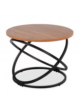 Βοηθητικό τραπέζι Tao pakoworld MDF μεταλλικό καρυδί-μαύρο Φ60x46εκ 058-000040
