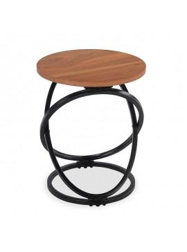 Βοηθητικό τραπέζι Tao pakoworld MDF μεταλλικό καρυδί-μαύρο Φ40x50εκ 058-000041