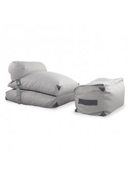 Πολυθρόνα πουφ - κρεβάτι Todd pakoworld ύφασμα γκρι-εκρού 058-000043
