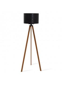 Φωτιστικό δαπέδου PWL-0002 pakoworld Ε27 πόδια καρυδί-μαύρο pvc καπέλο με σχέδιο Φ38x140εκ 071-000024