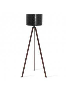 Φωτιστικό δαπέδου PWL-0003 pakoworld E27 πόδια καρυδί-μαύρο pvc καπέλο με σχέδιο Φ38x140εκ 071-000027