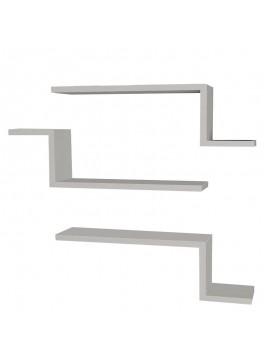 Ραφιέρα τοίχου τριών τεμαχίων PWF-0040 pakoworld χρώμα λευκό 58x14,5x18εκ 071-000102