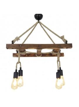 Φωτιστικό οροφής PWL-0009 pakoworld χρώμα καρυδί 80x60x35εκ 071-000497
