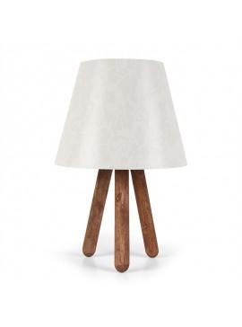 Επιτραπέζιο ξύλινο φωτιστικό PWL-0020 pakoworld με λευκό pvc καπέλο Φ22x33εκ 071-000594