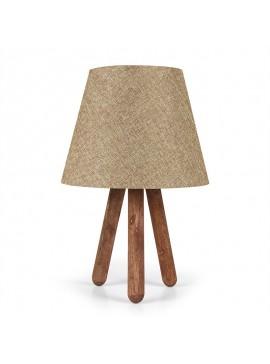 Επιτραπέζιο ξύλινο φωτιστικό PWL-0021 pakoworld Ε27 με μπεζ pvc καπέλο Φ22x33εκ 071-000595
