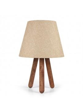 Επιτραπέζιο ξύλινο φωτιστικό PWL-0022 pakoworld Ε27 με κρέμ pvc καπέλο Φ22x33εκ 071-000596