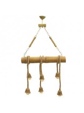 Φωτιστικό οροφής PWL-0029 pakoworld μεταλλικό χρώμα καρυδί-χρυσό 60x70εκ 071-000603