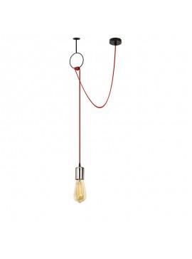 Φωτιστικό οροφής PWL-0061 pakoworld χρώμα nickel-κόκκινο 60x5x111εκ 071-000674
