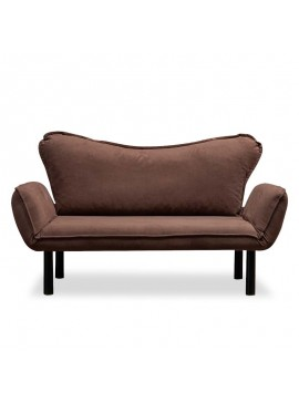 Καναπές κρεβάτι PWF-0286 pakoworld 2θέσιος με ύφασμα χρώμα καφέ 156x80x80cm 071-000812