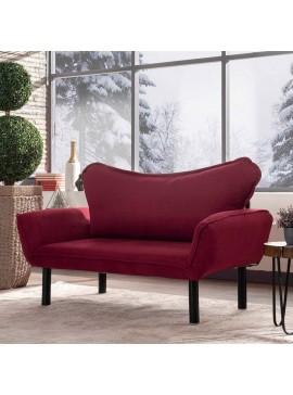 Καναπές κρεβάτι PWF-0286 pakoworld 2θέσιος με ύφασμα χρώμα κόκκινο 156x80x80cm 071-000814