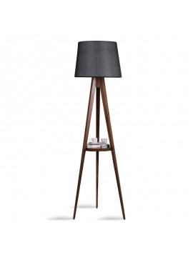 Φωτιστικό δαπέδου PWL-0125 pakoworld E27 ξύλο καρυδί - καπέλο μαύρο Φ45x50x160εκ 071-000839