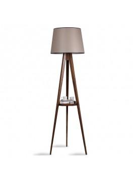 Φωτιστικό δαπέδου PWL-0125 pakoworld E27 ξύλο καρυδί - καπέλο μπεζ Φ45x50x160εκ 071-000840