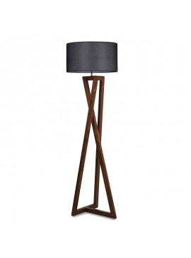 Φωτιστικό δαπέδου PWL-0126 pakoworld E27 ξύλο καρυδί - καπέλο μαύρο Φ45x43x150εκ 071-000841