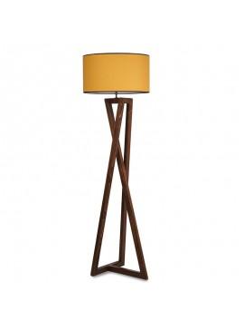 Φωτιστικό δαπέδου PWL-0126 pakoworld E27 ξύλο καρυδί - καπέλο κίτρινο Φ45x43x150εκ 071-000842