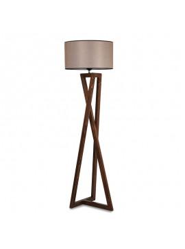 Φωτιστικό δαπέδου PWL-0126 pakoworld E27 ξύλο καρυδί - καπέλο μπεζ Φ45x43x150εκ 071-000843
