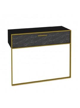 Κονσόλα PWF-0298 pakoworld χρώμα μαύρο μαρμάρου-χρυσό 90x38,5x77εκ 071-000854