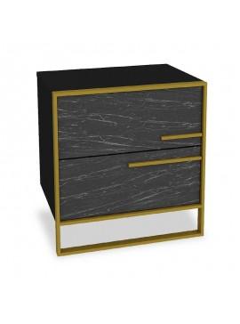 Κομοδίνο PWF-0298 pakoworld χρώμα μαύρο μαρμάρου-χρυσό 50x38.5x52εκ 071-000858