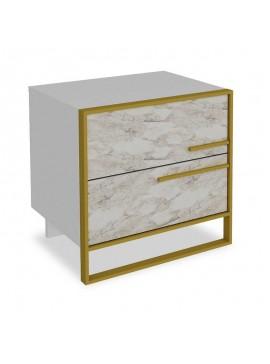 Κομοδίνο PWF-0298 pakoworld χρώμα λευκό μαρμάρου-χρυσό 50x38.5x52εκ 071-000859