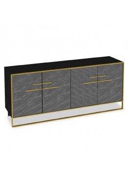 Μπουφές PWF-0298 pakoworld χρώμα μαύρο μαρμάρου-χρυσό 180x47,5x75εκ 071-000865