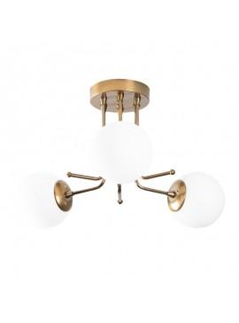 Φωτιστικό οροφής PWL-0115  pakoworld χρώμα χρυσό - λευκό 48x48x34εκ 071-000869
