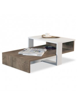 Τραπέζι σαλονιού PWF-0307 pakoworld χρώμα καρυδί - λευκό 80x43.5x32.5εκ 071-000880