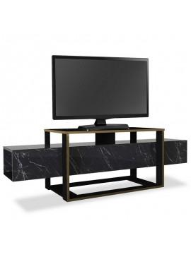 Έπιπλο τηλεόρασης PWF-0316 pakoworld χρώμα μαύρο μαρμάρου-χρυσό 160x46x50εκ 071-000891