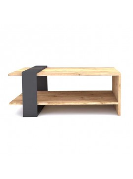 Τραπέζι σαλονιού PWF-0319 pakoworld χρώμα ανοικτό καρυδί - ανθρακί 80x55x35εκ 071-000894