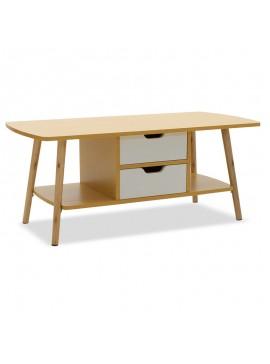 Τραπέζι σαλονιού Bloody MDF χρώμα oak - λευκό 100x48x42εκ 072-000017