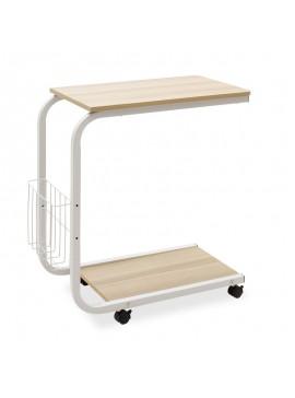 Τραπέζι βοηθητικό σαλονιού Troy pakoworld τροχήλατο-MDF φυσικό-λευκό 51x30x56εκ 072-000027