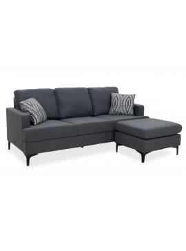 Γωνιακός καναπές με σκαμπό Slim pakoworld υφασμάτινος χρώμα ανθρακί με μαξιλάρια 185x140x70εκ 074-000003