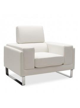 Πολυθρόνα Shea pakoworld pu λευκό-inox 104x80x87εκ 074-000014