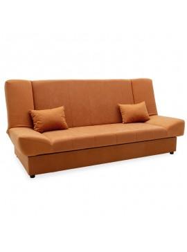 Kαναπές-κρεβάτι Tiko pakoworld 3θέσιος με αποθηκευτικό χώρο ύφασμα κεραμιδί 078-000011