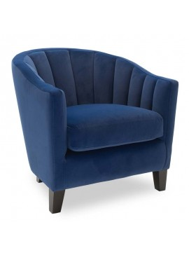 Πολυθρόνα Boca pakoworld με ύφασμα βελουτέ  χρώμα σκούρο μπλε 74x80x73εκ 079-000016