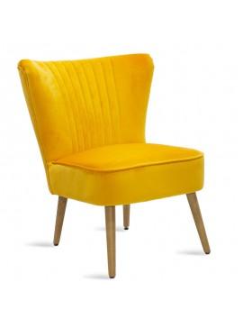 Πολυθρόνα Stork pakoworld με ύφασμα βελούδο χρώμα κίτρινο 68x54x78εκ 080-000004