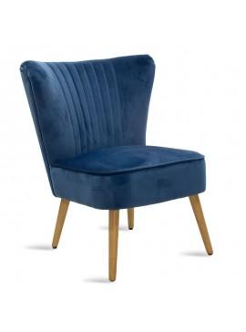 Πολυθρόνα Stork pakoworld με ύφασμα βελούδο χρώμα σκούρο μπλε 68x54x78εκ 080-000005