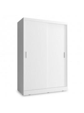 Ντουλάπα ρούχων Wiki pakoworld δίφυλλη με συρόμενες πόρτες χρώμα λευκό 130x62x200εκ 081-000046