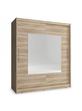 Ντουλάπα ρούχων Wiki pakoworld δίφυλλη με συρόμενες πόρτες χρώμα sonoma 180x62x200εκ 081-000049