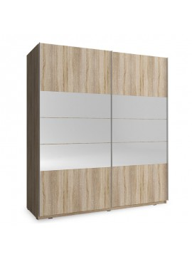 Ντουλάπα ρούχων Mika pakoworld δίφυλλη με συρόμενες πόρτες χρώμα sonoma 200x63x214εκ 081-000054